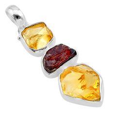 12.95cts yellow citrine raw garnet raw 925 sterling silver pendant t33389