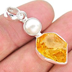 8.56cts yellow citrine raw pearl 925 sterling silver pendant jewelry t25494