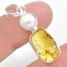 7.97cts yellow citrine raw pearl 925 sterling silver pendant jewelry t25501