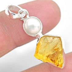 7.48cts yellow citrine raw pearl 925 sterling silver pendant jewelry t25502