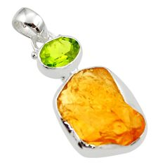 12.15cts yellow citrine rough peridot 925 sterling silver pendant jewelry r29817