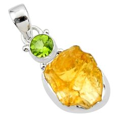 11.74cts yellow citrine rough peridot 925 sterling silver pendant jewelry r51561