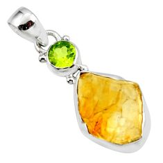 13.15cts yellow citrine rough peridot 925 sterling silver pendant jewelry r51562