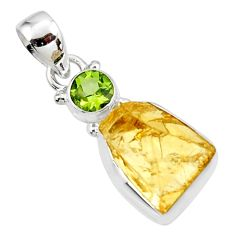 11.74cts yellow citrine rough peridot 925 sterling silver pendant jewelry r51563