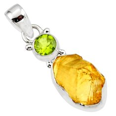 10.75cts yellow citrine rough peridot 925 sterling silver pendant jewelry r51565