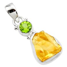10.79cts yellow citrine rough peridot 925 sterling silver pendant jewelry r51566