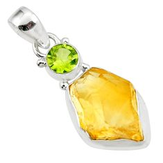 13.12cts yellow citrine rough peridot 925 sterling silver pendant jewelry r51568