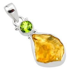 13.15cts yellow citrine rough peridot 925 sterling silver pendant jewelry r51571