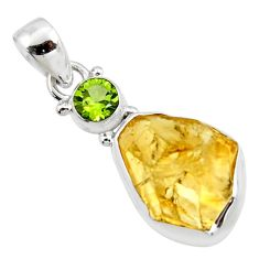 13.66cts yellow citrine rough peridot 925 sterling silver pendant jewelry r51573