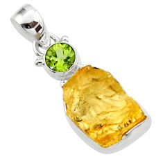 12.62cts yellow citrine rough peridot 925 sterling silver pendant jewelry r51576