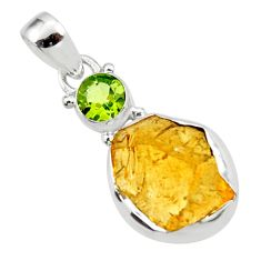 11.26cts yellow citrine rough peridot 925 sterling silver pendant jewelry r51577