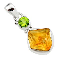 11.74cts yellow citrine rough peridot 925 sterling silver pendant jewelry r51579