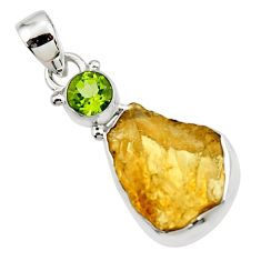 11.66cts yellow citrine rough peridot 925 sterling silver pendant jewelry r51580