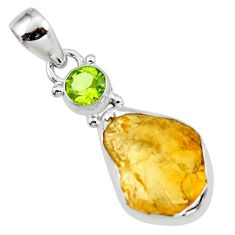 12.22cts yellow citrine rough peridot 925 sterling silver pendant jewelry r51581