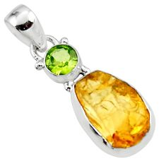 11.69cts yellow citrine rough peridot 925 sterling silver pendant jewelry r51583
