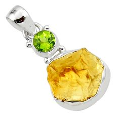 14.14cts yellow citrine rough peridot 925 sterling silver pendant jewelry r51586