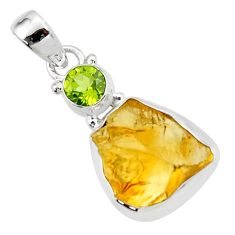 13.18cts yellow citrine rough peridot 925 sterling silver pendant jewelry r51588