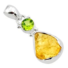 10.73cts yellow citrine rough peridot 925 sterling silver pendant jewelry r51589