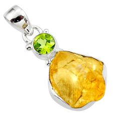 14.72cts yellow citrine rough peridot 925 sterling silver pendant jewelry r51590