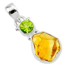 10.28cts yellow citrine rough peridot 925 sterling silver pendant jewelry r51592