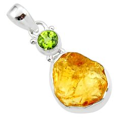 13.15cts yellow citrine rough peridot 925 sterling silver pendant jewelry r51593