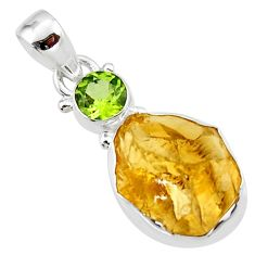 12.07cts yellow citrine rough peridot 925 sterling silver pendant jewelry r51594