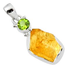 15.02cts yellow citrine rough peridot 925 sterling silver pendant jewelry r51596