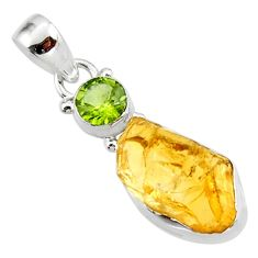 11.57cts yellow citrine rough peridot 925 sterling silver pendant jewelry r51597