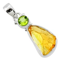 11.74cts yellow citrine rough peridot 925 sterling silver pendant jewelry r51598