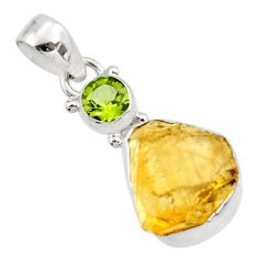 11.26cts yellow citrine rough peridot 925 sterling silver pendant jewelry r51600