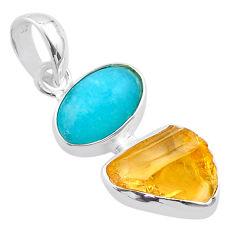 9.65cts yellow citrine raw peruvian amazonite 925 silver pendant t48861