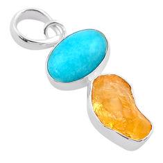 8.90cts yellow citrine raw peruvian amazonite 925 silver pendant t48865