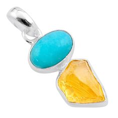 10.18cts yellow citrine raw peruvian amazonite 925 silver pendant t48893