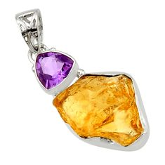 16.18cts yellow citrine rough purple amethyst 925 sterling silver pendant r29820