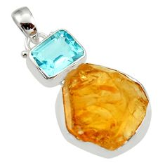 18.15cts yellow citrine rough topaz 925 sterling silver pendant jewelry r30081
