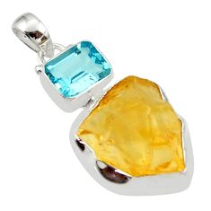 16.54cts yellow citrine rough topaz 925 sterling silver pendant jewelry r30082