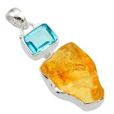 16.12cts yellow citrine rough topaz 925 sterling silver pendant jewelry r30088