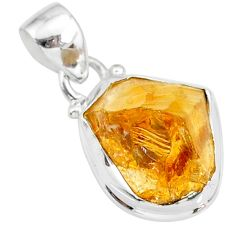 8.87cts yellow raw citrine rough 925 sterling silver pendant jewelry r88859