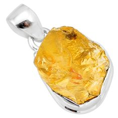 9.06cts yellow raw citrine rough 925 sterling silver pendant jewelry r88868