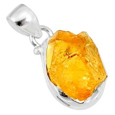8.92cts yellow raw citrine rough 925 sterling silver pendant jewelry r88875
