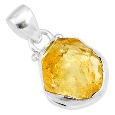 7.22cts yellow raw citrine rough 925 sterling silver pendant jewelry r88876