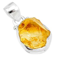 7.83cts yellow raw citrine rough 925 sterling silver pendant jewelry r88880