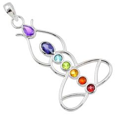 Yogi energy power natural multi gemstone 925 silver yogic chakra pendant r65398
