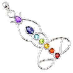 Yogi energy power natural multi-gemstone 925 silver yogic chakra pendant r65400