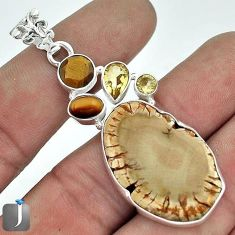 LUXURY NATURAL BROWN PETRIFIED WOOD FOSSIL CITRINE 925 SILVER PENDANT G14640