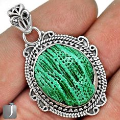 12.71cts MAGICAL GREEN CARDITA SHELL 925 STERLING SILVER PENDANT JEWELRY G31696