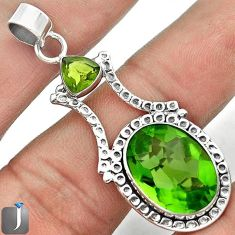 11.18cts MAGICAL GREEN PARROT QUARTZ 925 STERLING SILVER PENDANT JEWELRY F7019