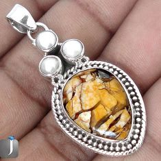MAGICAL YELLOW MATRIX OPAL PEARL 925 STERLING SILVER PENDANT JEWELRY G28216