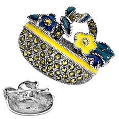 7.89gms marcasite enamel 925 sterling silver brooch pendant jewelry c3112