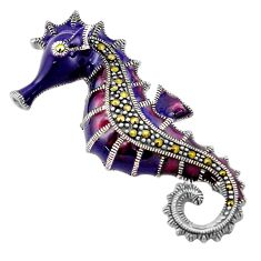 8.26gms marcasite enamel 925 sterling silver seahorse pendant jewelry c4399